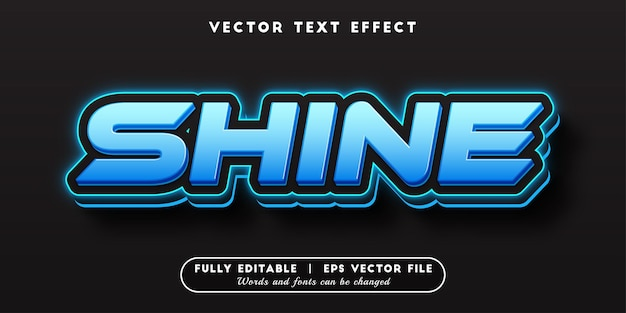 Effetto di testo blu brillante con stile di testo modificabile