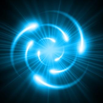 Schema atomico blu brillante.
