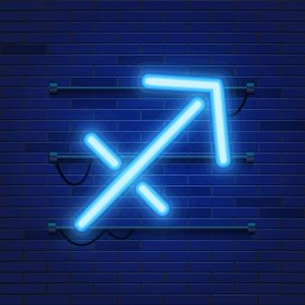 Simbolo del sagittario dello zodiaco al neon cosmico brillante blu sul muro di mattoni.