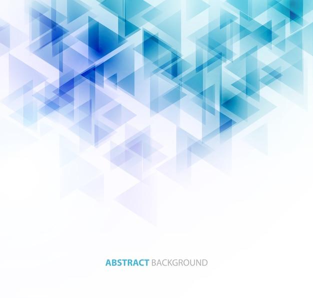 Il triangolo blu brillante modella il background tecnico. progettazione tecnologica