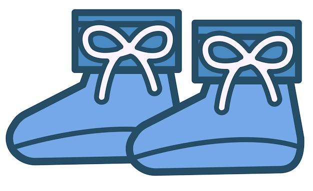 Scarpe blu con lacci, calzature isolate per bambini maschi. vestiti alla moda per ragazzi, abbigliamento classico per bambini alla moda. stivali estivi o autunnali o gumshoes, piedi piccoli, vettore in stile piatto