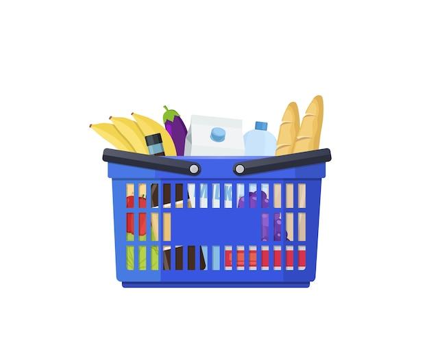 Cestino della spesa blu con forniture di frutta e verdura in stile piano
