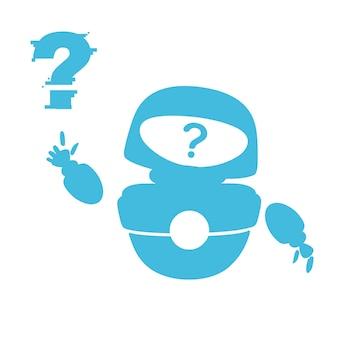 Siluetta blu carino bianco moderno robot levitante agitando la mano e con la faccia del punto interrogativo
