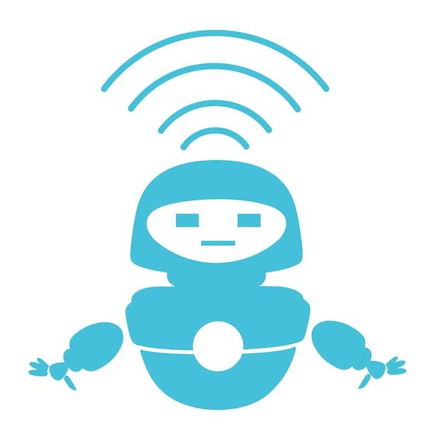 Robot levitante moderno bianco sveglio della siluetta blu con l'illustrazione piana di vettore del modulo wifi