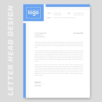 Design semplice di carta intestata blu