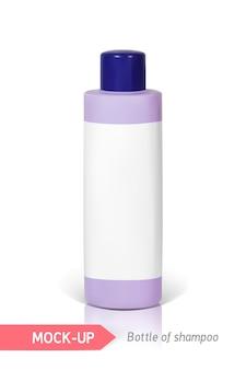 Piccola bottiglia blu di shampoo con etichetta. mocap per la presentazione dell'etichetta.