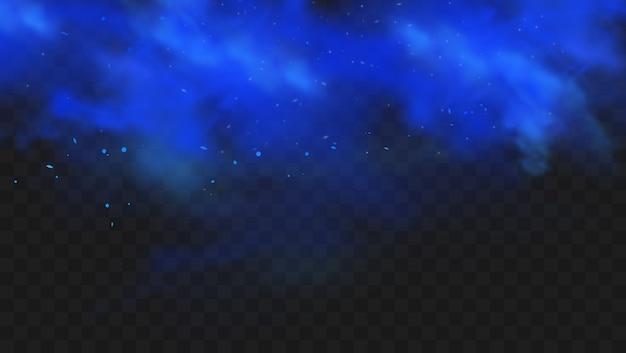 Fumo blu isolato su sfondo scuro trasparente. nuvola di nebbia magica blu realistica.