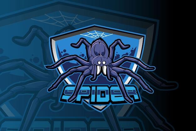 Modello di logo della squadra di e-sport di ragno blu