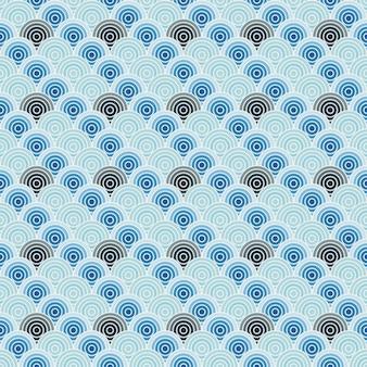 La linea a spirale blu modella il fondo senza cuciture, stile giapponese dell'onda