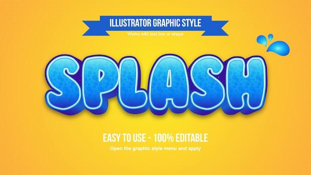 Tipografia modificabile del fumetto di splash watter pattern 3d blu