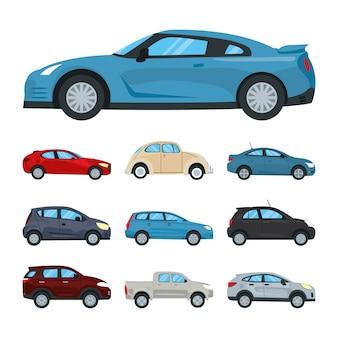 Icona di auto e auto sportive blu impostato su sfondo bianco, design colorato