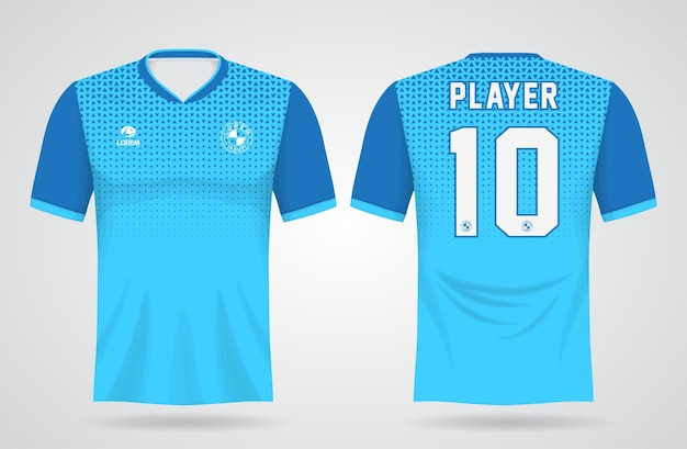Modello di maglia sportiva blu per le divise della squadra e il design della maglietta da calcio