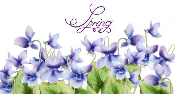 Acquerello blu del mazzo dei fiori della molla