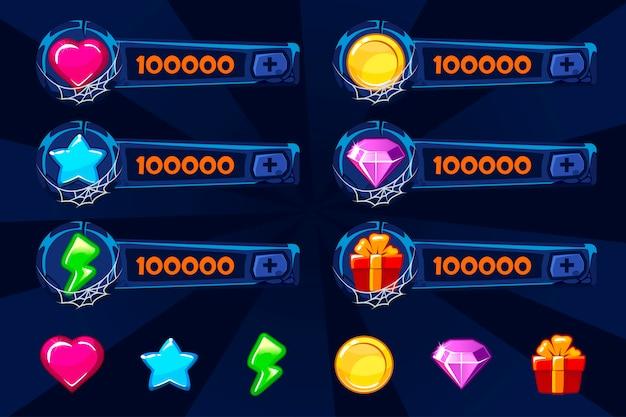 Set di attività del gioco del fumetto di pietra blu. elementi e icone della gui. pannelli di aggiunta per il gioco