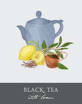 Teiera blu, tazza di vetro trasparente, foglie di tè, fiori e frutta fresca di limone