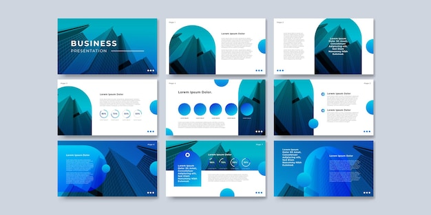 Progettazione di presentazione del modello blu e progettazione del layout di pagina per brochure, libri, riviste, relazioni annuali e profilo aziendale