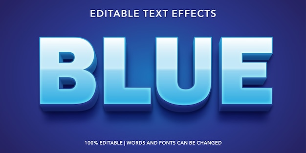 Effetto testo modificabile in stile testo blu Vettore Premium