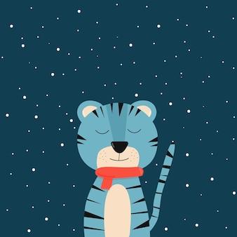 Faccia di tigre blu su sfondo beige un simbolo del nuovo anno tigre dei cartoni animati