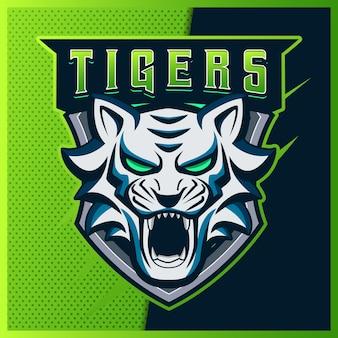 Blue tigers esport e design del logo della mascotte sportiva
