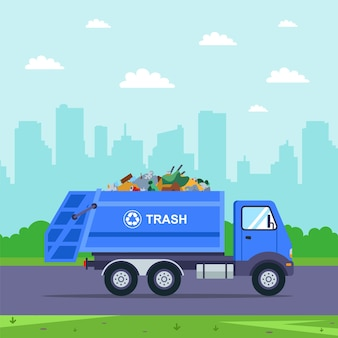 Camion blu porta la spazzatura fuori dalla città. illustrazione auto piatta.