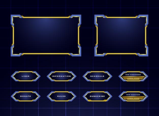 Set design pannello blu twitch streaming Vettore Premium