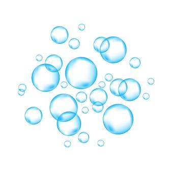 Bolle d'aria frizzante subacquee blu su sfondo bianco scintille frizzanti nell'acqua