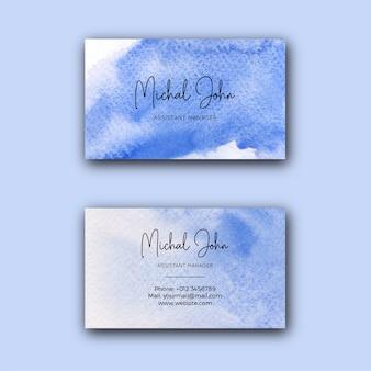 Modello di biglietto da visita aziendale artistico dell'acquerello blu Vettore Premium