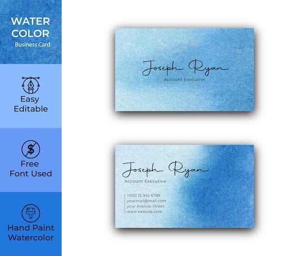 Modello di biglietto da visita dell'acquerello blu