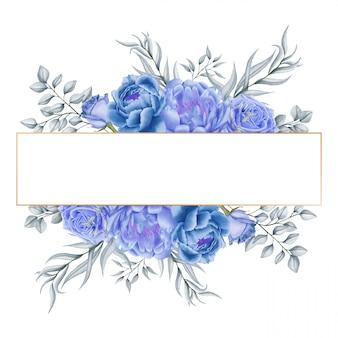 Mazzo blu del fiore dell'acquerello sul modello dell'invito di nozze