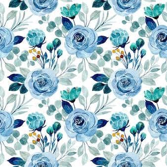 Reticolo senza giunte del fiore blu dell'acquerello