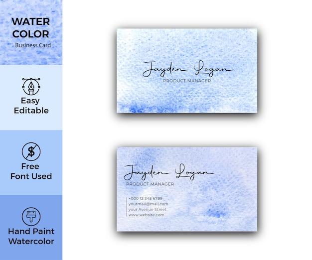 Modello di biglietto da visita di macchie di acquerello blu