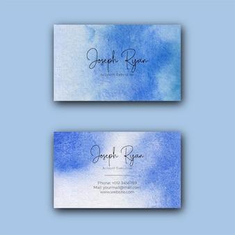Modello di biglietto da visita di struttura dell'acquerello blu