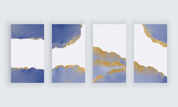 Acquerello blu con sfondi glitter dorati per banner di storie di social media