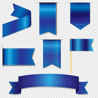 Blue web ribbons collection isolato