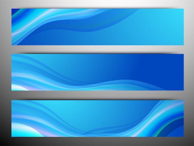 Intestazioni di sito blu o banner con onde.