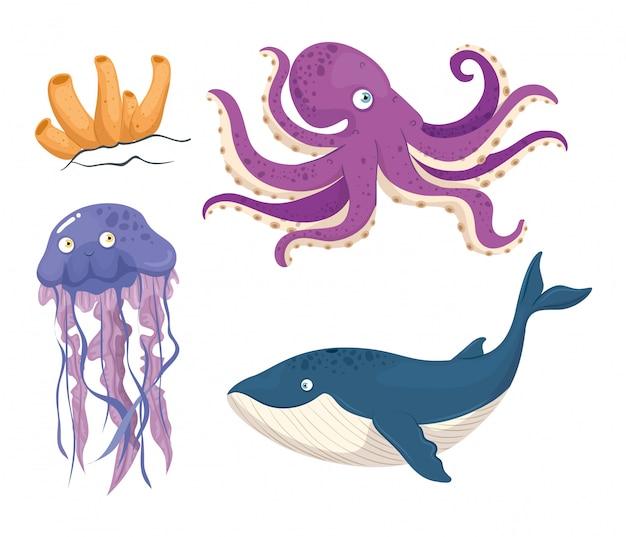 Balena blu animale marino nell'oceano, con simpatiche creature sottomarine, habitat marino Vettore Premium