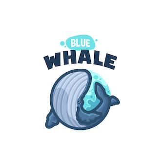 Blue whale cartoon logo per la tua azienda