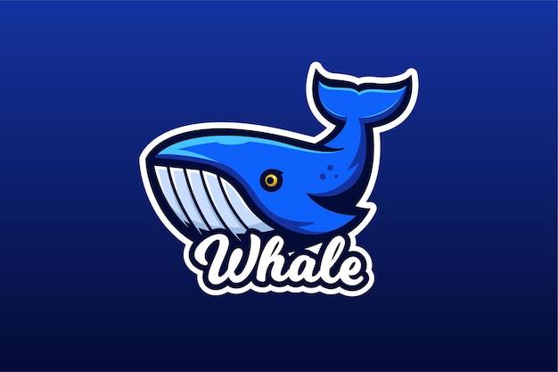 Modello di logo del gioco di e-sport di balenottera azzurra