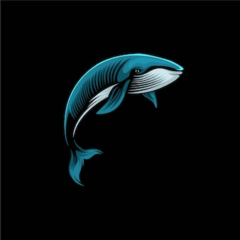 Balena blu logo design illustrazione