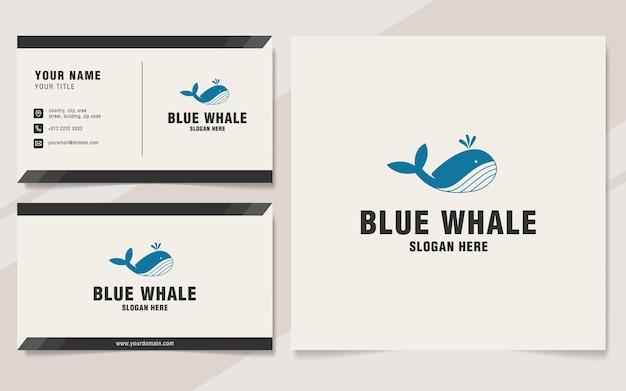 Modello di logo della balena blu sullo stile del monogramma Vettore Premium