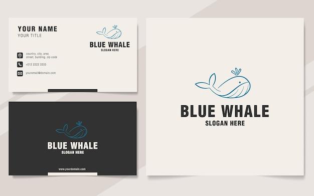Modello di logo della balena blu sullo stile del monogramma