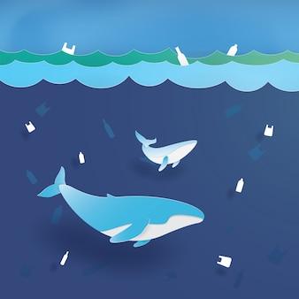 Blue whale nell'inquinamento di plastica dell'oceano, salva l'oceano, conservazione e ambiente sostenibile, arte di carta, taglio di carta, vettore di mestiere, disegno