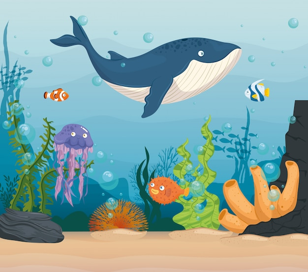 Balena blu con pesci e animali marini selvatici nell'oceano, abitanti del mondo del mare, simpatiche creature sottomarine, concetto di habitat marino