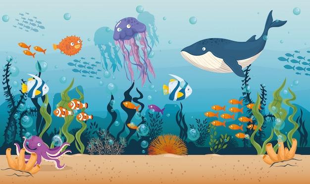Balena blu con pesci e animali marini selvatici nell'oceano, abitanti del mondo del mare, simpatiche creature sottomarine, concetto di habitat marino Vettore Premium