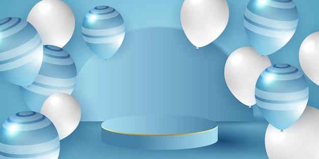 Palloncini bianchi blu coriandoli concept design modello vacanza happy day sfondo celebration vector...