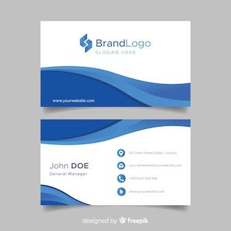 Modello di biglietto da visita blu e bianco con logo Vettore Premium