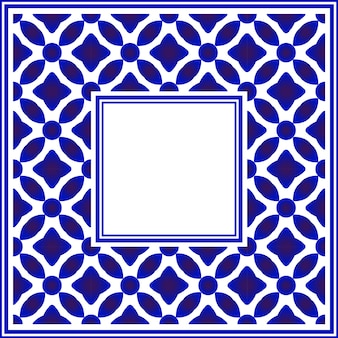 Cornice quadrata in ceramica blu e bianca