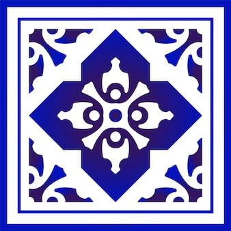 Design della cornice floreale blu e bianco