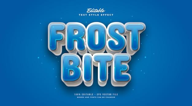 Stile di testo frostbite blu e bianco con effetto 3d. effetto stile testo modificabile