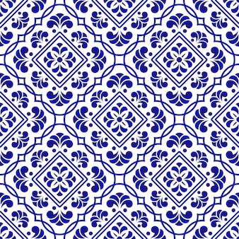 Modello di piastrelle blu e bianche
